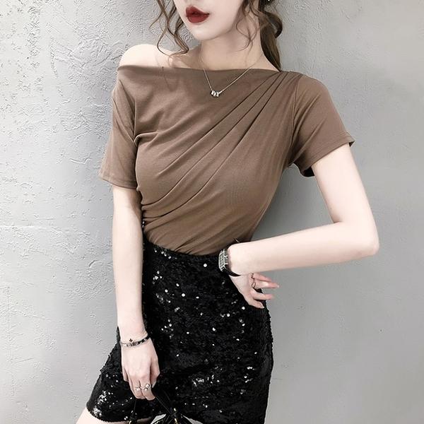 短袖T恤 一字領性感半露肩簡約短袖T恤女2021夏裝新款修身顯瘦打底衫上衣 小衣里大購物