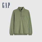 Gap男裝 碳素軟磨系列 法式圈織工裝風立領休閒上衣 850872-綠色