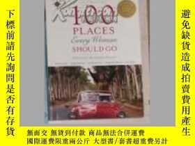 二手書博民逛書店英文原版罕見100 Places Every Woman Sho