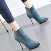 高跟鞋秋冬短靴性感鉚釘尖頭高跟鞋女細跟女英倫風潮靴子    艾維朵DF