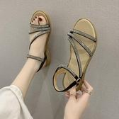 韓版夏季新款時尚露趾涼鞋百搭水鑚皮帶扣羅馬鞋  【快速出貨】時尚