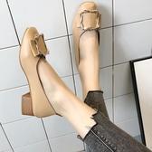 中跟鞋女鞋2020新款春季奶奶鞋粗跟單鞋韓版學生春秋百搭中跟豆豆鞋子女 萊俐亞