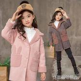 女童冬季加絨加厚外套麂皮絨加絨中長款外套兒童韓版加厚外套上衣 免運