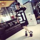 衣美姬♥韓版數字時尚寬鬆亮片T恤 新款 中袖長版上衣 嘻哈街頭款【現貨】