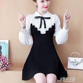 長袖洋裝 2020年秋季長袖洋裝 娃娃領小清新赫本小黑裙高腰顯瘦a字短裙女 新年特惠