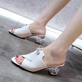 高跟魚嘴涼鞋 網紅拖鞋女中跟夏2021新款百搭ins時尚一字拖高跟粗跟仙女涼拖鞋 百分百