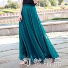 海邊拖地長裙仙女8米大擺裙沙灘度假顯瘦夏季金絲雪紡半身裙 可然精品
