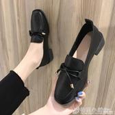小皮鞋女英倫風春季新款百搭黑色復古中粗跟鞋方頭豆豆鞋單鞋 聖誕節鉅惠