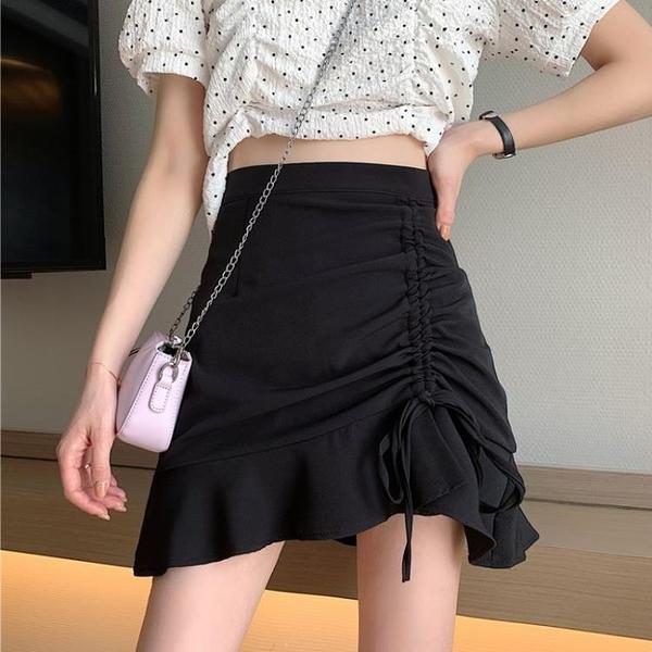 2021新款設計感半身裙女夏季褶皺魚尾裙高腰A字裙黑色包臀短裙子 【端午節特惠】