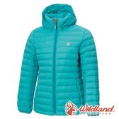【wildland 荒野】女 收納枕拆帽極暖鵝絨外套『冰河藍』0A72103 戶外 休閒 運動 冬季 保暖 禦寒