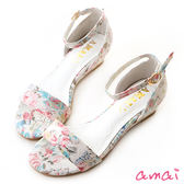 amai精靈蕾絲印花一字繞踝楔型涼鞋 白