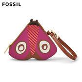 FOSSIL Travel 紫紅色小摩斯拉真皮零錢包