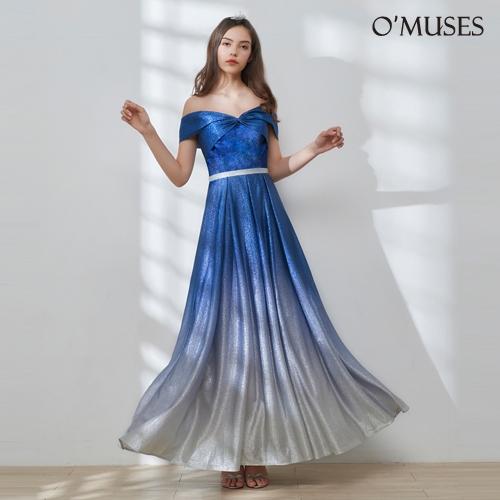 OMUSES 一字領漸層金蔥伴娘婚紗訂製藍色長禮服