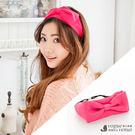 桃紅色大蝴蝶結髮帶-鬆緊寬邊髮帶 韓國進...