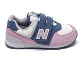 New Balance 男女款小童鞋藍白紫三色拼接魔鬼氈休閒鞋-NO.IV574JHG