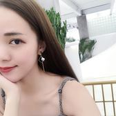 S925純銀長款不對稱貝殼氣質韓版簡約個性時尚超仙耳環 YY1447『東京衣社』