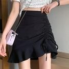 短裙 不規則半身裙女春裝2021新款港味復古黑色包臀短裙高腰顯瘦a字裙