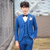 西裝套裝含西裝外套+西裝褲(三件套)-帥氣經典格子設計男西服3色73hc53【時尚巴黎】