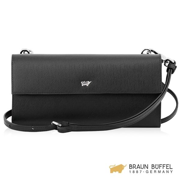 【BRAUN BUFFEL】美莉莎-III系列14卡兩折長夾斜背包 - 黑色 BF651-720-BK