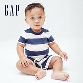 Gap嬰兒 布萊納系列 清爽條紋短袖包屁衣 685422-藍色條紋