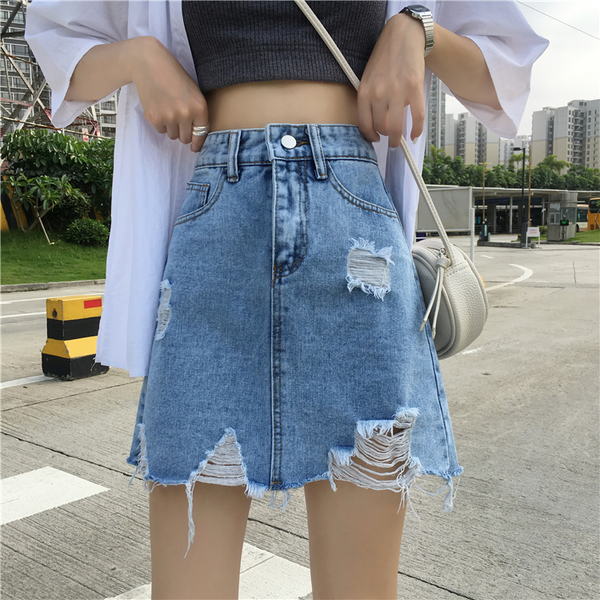 (免運)DE shop - 不規則撕邊破洞牛仔高腰A字短裙子 - GU-4949