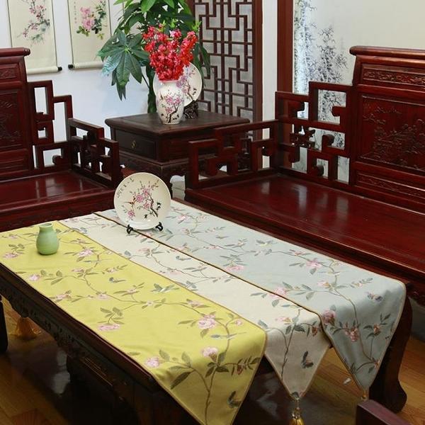[超豐國際]中式亞棉麻刺繡田園桌旗桌布茶幾布床旗柜旗桌墊長餐
