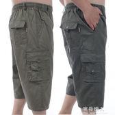 夏季中年男純棉七分褲中老年爸爸裝加肥加大高腰松緊腰多口袋短褲 完美情人精品館
