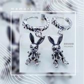 【羅蘭達銀飾】垂墜式耳環。925純銀。硫化復古立體小白兔墜飾造型。喚醒童年樂趣