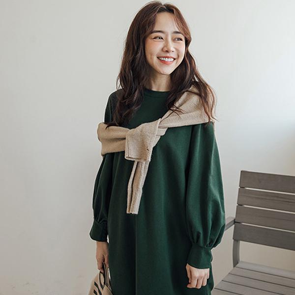 MIUSTAR 澎澎袖口後U型開衩長版棉質洋裝(共3色)【NG001920】預購
