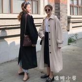 秋季女裝韓版純色慵懶風寬鬆繫帶後背開叉中長款長袖過膝風衣外套  嬌糖小屋