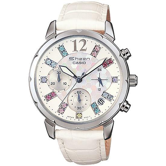 【台南 時代鐘錶 CASIO】SHEEN 宏崑公司貨 SHN-5012LP-7A 萊茵石甜美晶鑽三眼日期腕錶