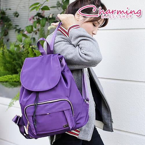 俏咪包 翻蓋抽繩尼龍後背包 [LG-744]紫外光 pantone 紫色