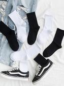 襪子白色長襪子女中筒襪ins潮流街頭百搭純棉高幫秋冬純黑色長筒襪男 雲朵走走