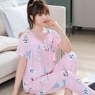 韓版夏季睡衣女士短袖薄款綿綢長褲套裝大碼學生人造棉綢女家居服「時尚彩紅屋」