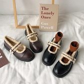 毛毛鞋女2021冬季新款外穿日繫學院復古英倫小皮鞋加絨保暖樂福鞋 韓國時尚週 免運