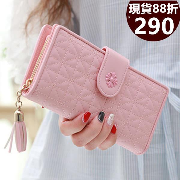 長夾 優質菱格茶花流蘇皮夾 手機錢包 共5色-9514-寶來小舖 -現貨販售