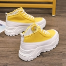 帆布鞋女夏季新款超火的厚底帆布鞋鬆糕鞋女...