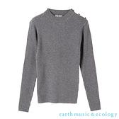 「Hot item」素面/橫條紋金色鈕扣裝飾羅紋針織上衣 - earth music&ecology