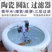 陶瓷魚缸過濾器圓形缸低水位吸便濾盒設備玻璃缸養魚盆循環水 【快速出貨】