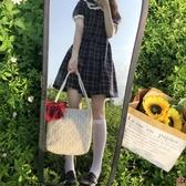 蕾絲水桶手提草編編織女包包側背包單肩購物袋大容量【匯美優品】