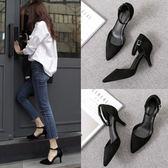 高跟鞋女黑色細跟2018春季新款中空單鞋