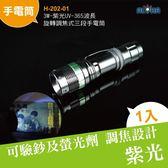 UV手電筒 3W-紫光UV-365波長旋轉調焦式三段手電筒 (H-202-01)