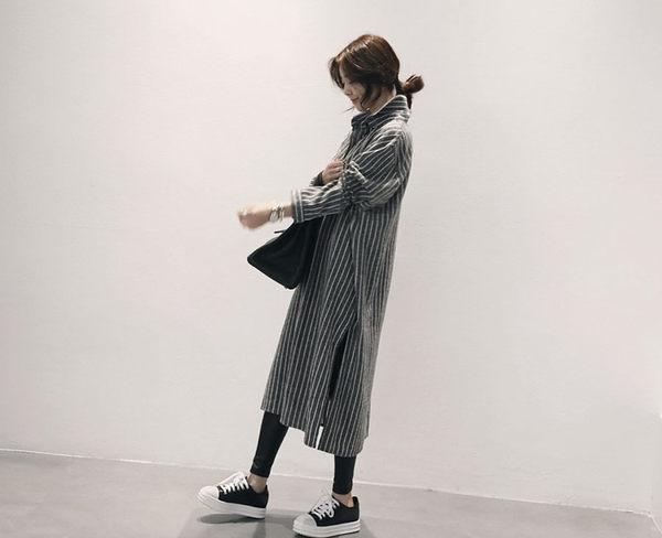 長袖襯衫 時尚寬鬆顯瘦直條紋連身長袖襯衫 艾爾莎【TAK3063】