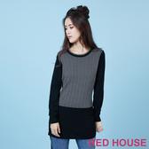 RED HOUSE-蕾赫斯-格紋長版針織衫(黑色)
