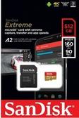 【聖影數位】SanDisk Extreme Micro SD 512G 附轉卡 讀160MB/s 寫90MB SDSQXA1 V30 U3 C10 A2