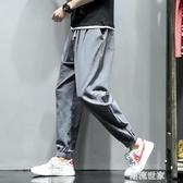 亞麻休閒褲子男士寬鬆運動束腳大碼胖子9九分哈倫褲夏季2019新款『潮流世家』