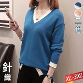 白配色V領長板針織衣(2色) XL~3XL【122781W】【現+預】☆流行前線☆