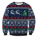 2018聖誕節時尚套頭衛衣女麋鹿雪橇印花長袖圓領寬松上衣