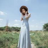 吊帶裙高腰開叉大擺裙禮服長裙連身裙