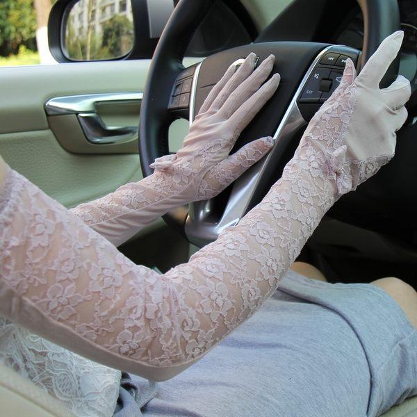 夏季開車長款手臂套女士真絲防曬手套蕾絲袖套全指防紫外線薄   -8222002